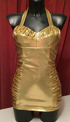Swimsuit - Vintage 1950s inspired sparkly gold lame effect XS to 3XL