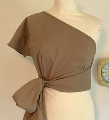 caramel beige faux wrap top 1950s vintage inspired blouse one shoulder
