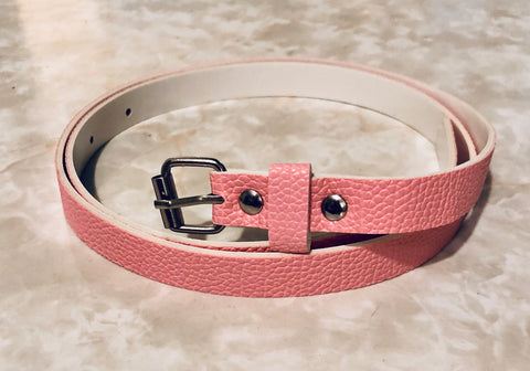 Leather look narrow pink belt
