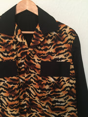 Mans shirt - Vintage 1950s inspired long sleeve tiger animal print contrast with black S M L