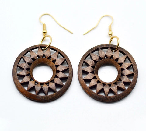 Brown wood hoop earrings