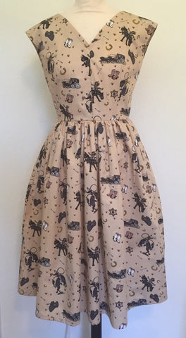Heidi - Vintage 1950s inspired novelty Cowboys Western print full skirted dress XS to XXL
