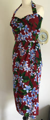 Hawaiian - 1950s vintage inspired wrap around burgundy sarong dress XS to 3XL