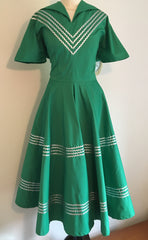 vintage 1950s inspired Mexican patio full circle dress green and silver retro