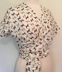 minnie cotton wrap top 1950s vintage novelty dog print