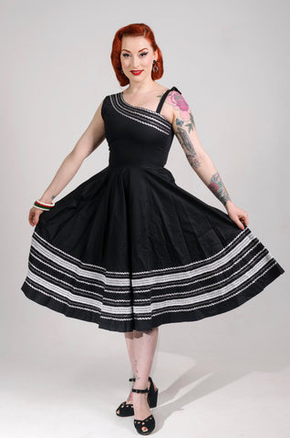 Patio dress vintage 1950s style one shoulder Mexican full circle dress black white silver