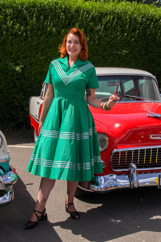 Patio dress vintage 1950s inspired green and silver Mexican themed full circle S M L XL only