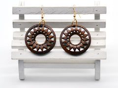 vintage 1950s style inspired boho hipster wood hoop earrings