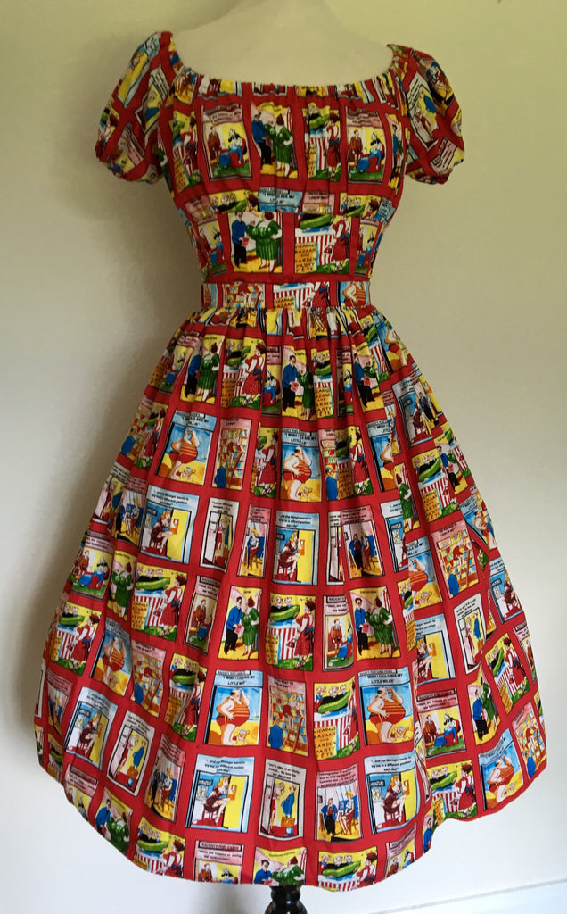 Full skirt - vintage 1950s inspired novelty naughty postcards print M L