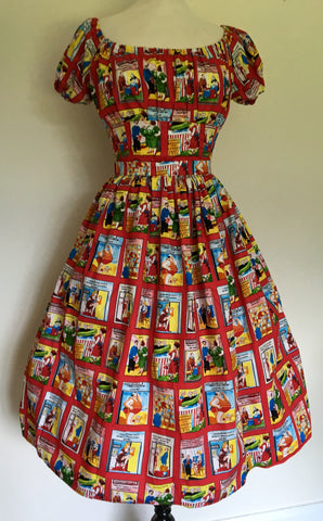 Full skirt - vintage 1950s inspired novelty naughty postcards print XS to XL