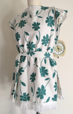 Beach robe - vintage 1960s deadstock teal and white terry towelling