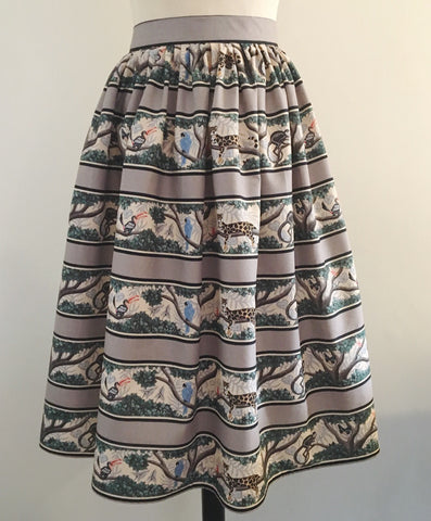 Full dirndl skirt in jungle print vintage 1950s inspired XS to XXL