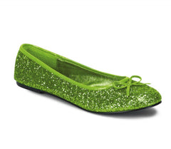 Pleaser Star glitter ballet flat shoes in lime green