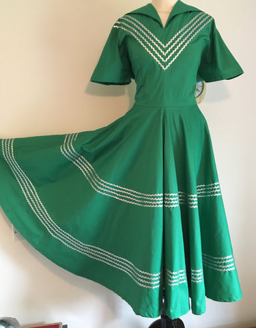 Patio dress vintage 1950s inspired green and silver Mexican themed full circle XS to 3XL