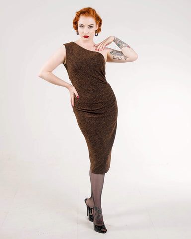 Kitty - Vintage 1950s inspired cocktail wiggle dress dark gold and black lurex XS to XL