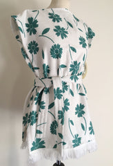 vintage deadstock terry towelling teal white beach robe swim cover up 1950s 1960s