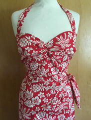 Vintage 1950s inspired Hawaiian sarong dress red hibiscus halter neck