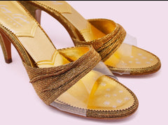 Long Gone Shoes Diana gold lurex and clear vinyl springolator mules