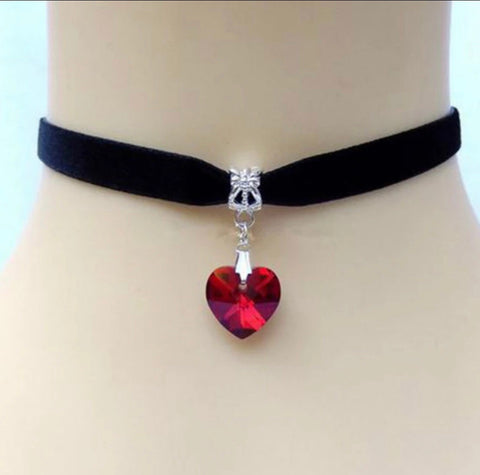 Black velvet neckband necklace with ruby red heart pendant
