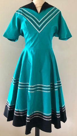 Patio dress vintage 1950s style Mexican full circle dress turquoise and black XS to 3XL