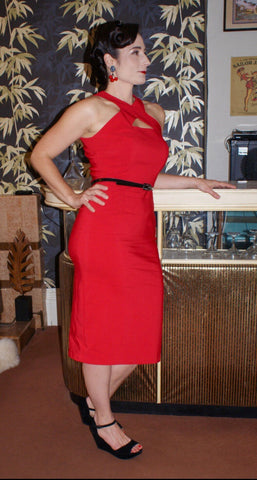 Manon in red Vintage 1950s inspired seductive hourglass wiggle dress with peek a boo keyhole