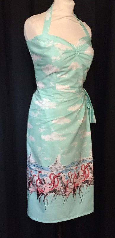 Hawaiian sarong dress limited edition flamingo border print in XS M L