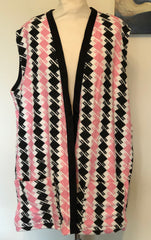 Beach robe vintage 1950s style in terry towelling pink black argyle check XL/XXL
