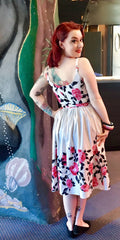 Vintage 1950s style Debbie sundress white with roses border print XS to 2XL