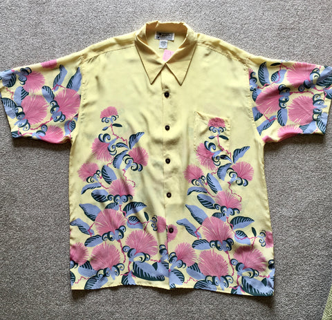 Hawaiian shirt Avanti 1950s vintage style pale yellow XL