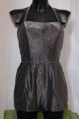 true vintage 1950s dark silver pewter lurex playsuit romper
