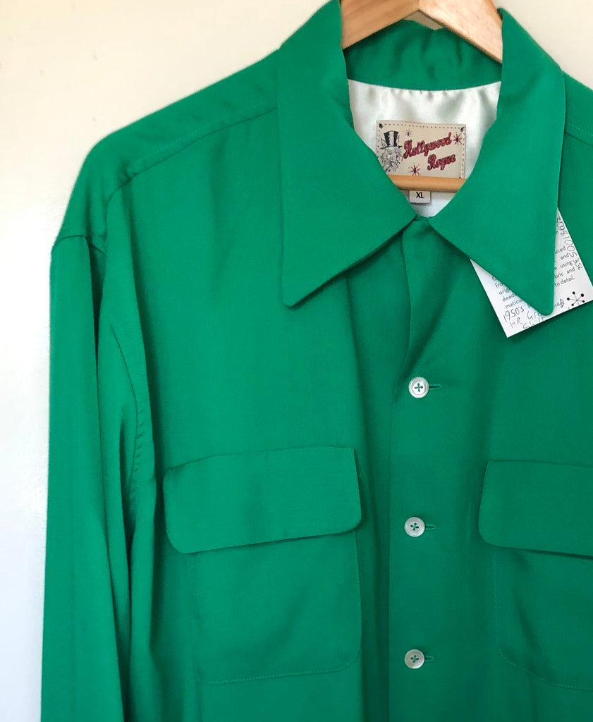 Hollywood Rogue Kelly green vintage 1950s reproduction mans shirt
