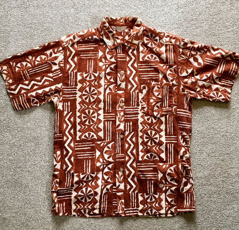Hawaiian shirt 1950s true vintage brown and cream M