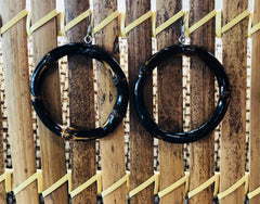 Tiki vintage style smaller dark natural bamboo hoop earrings