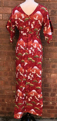 Pake Muu Vintage 1950s inspired Hawaiian hostess dress red Oriental print XS tiki