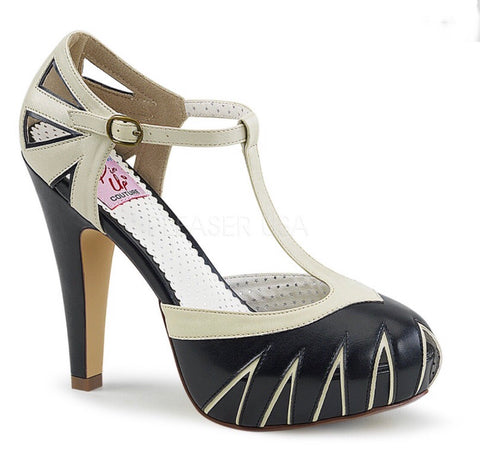 Bettie black and cream vintage style Pin Up Couture Shoes
