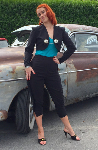 Capri pants with fringe - Vintage 1950s Inspired black classic cut XXS to 3XL rockabilly!
