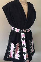 1950s vintage towelling beach robe black pink houndstooth check swimsuit cover up