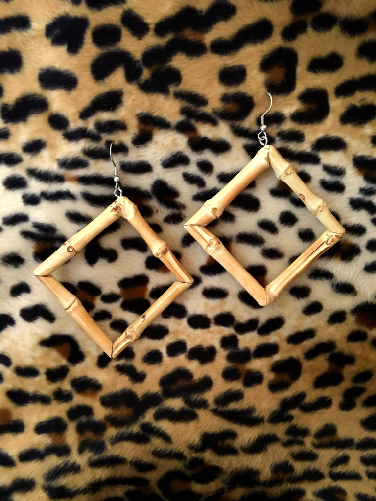 Tiki natural bamboo square earrings perfect for 1950s Hawaiian dresses!