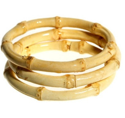 Tiki natural bamboo bangles perfect for 1950s Hawaiian dresses! Set of three