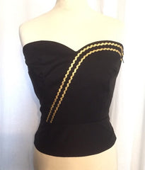 Bustier - Vintage 1950s inspired black cotton gold ricrac Mexican style bustier sun top XS to 3XL