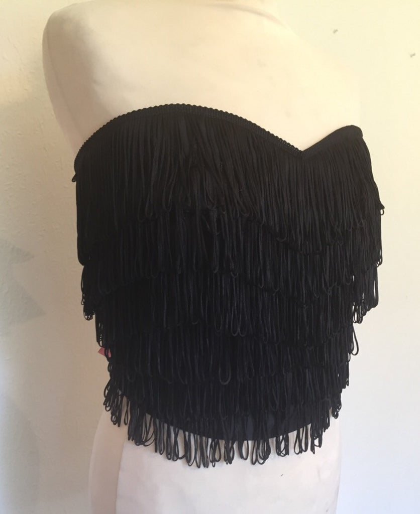 Wanda Bustier - vintage 1950s inspired black fully fringed strapless top Size XS to XXL