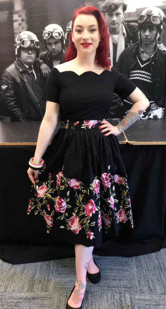 Full dirndl vintage 1950s style skirt black with pink roses border print S to 3XL