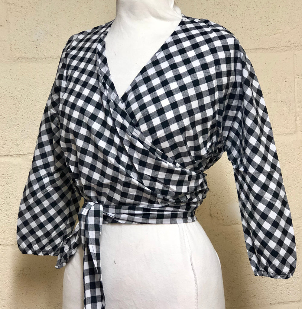 Jenny - Black white check gingham vintage 1950s style wrap tie top