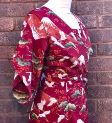 Pake Muu Vintage 1950s inspired Hawaiian hostess dress red Oriental print XS