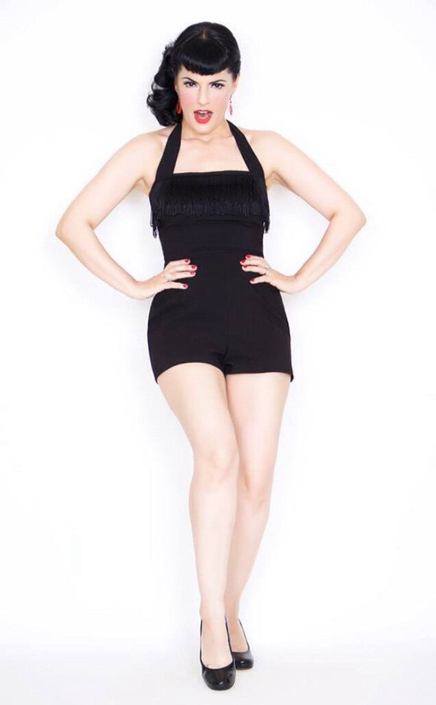 Showgirl - Vintage 1950s inspired fringed black pinup playsuit romper XXS to XXL