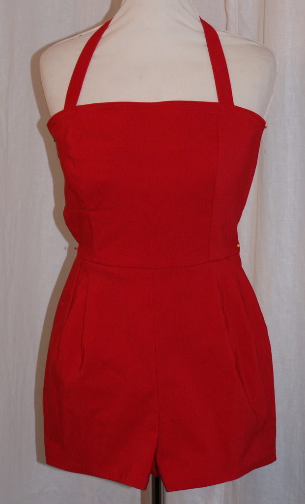 Cherry - Vintage 1950s inspired lipstick red rockabilly pinup playsuit romper XXS to XXL