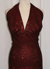 Hollywood - Vintage 1950s inspired black fishnet over red lurex sparkly halter wiggle dress  VLV rockabilly