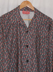 Mans shirt - Vintage 1950s inspired in black white and red geometric print Sizes S M L