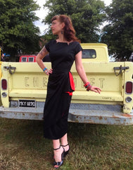 Lauren black with red - Vintage 1950s inspired stretch sateen dress with faux sarong S to L
