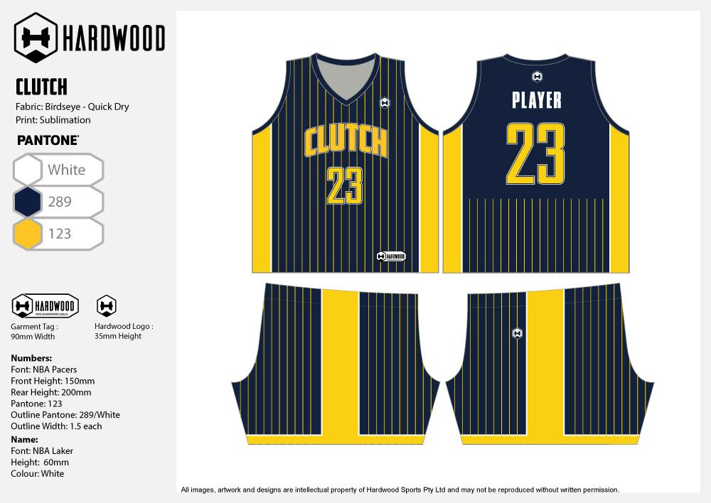 Clutch Basketball Jersey Only - Blue & Yellow